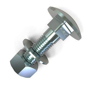 50 x Boulons M8 x 30 tête ronde collet carré Vis TRCC avec Écrou et Rondelle Longueurs 20-200mm choix: 50x M8x30