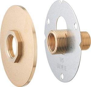 AROZ Platine de fixation robinet exterieur à visser + platine finition brute