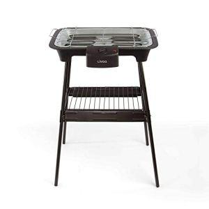 Barbecue électrique sur pied – Surface de cuisson : 2000 W – Grille de cuisson – Surface de cuisson : 38 x 22 cm – Bac de récupération de graisse – Noir