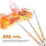 Barre de barbecue rétractable en bois robuste en acier inoxydable pour barbecue Hot Dog Accessoires de camping Fourchette à rôtir Sécurité enfant