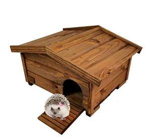 BLIŹNIAKI Hérisson en bois résistant aux intempéries 37 x 47 x 25 cm Toit amovible sol en bois labyrinthe sûr pour hérisson Eco Hôtel pour le jardin HDJ3 O