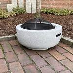 Brasero de jardin rond avec pare-étincelles Ø 60 cm aspect granit + tisonnier