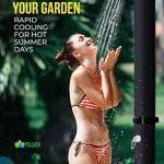 Douche solaire tillvex – 35 litres – Douche de jardin solaire chaude – Douche de piscine camping – Sans raccordement électrique – Avec robinet et pommeau de douche à effet pluie – Noir