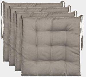 Ensemble de 4 coussins de chaise de jardin / coussin de siège de jardin en polyester – couleur stone