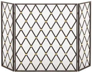 Fengli Spark Spark Spark Foyer en fer forgé Grand écran plat pour extérieur en métal en maille solide pour bébé avec panneaux ignifuges pour poêle à bois Noir 29,9 cm
