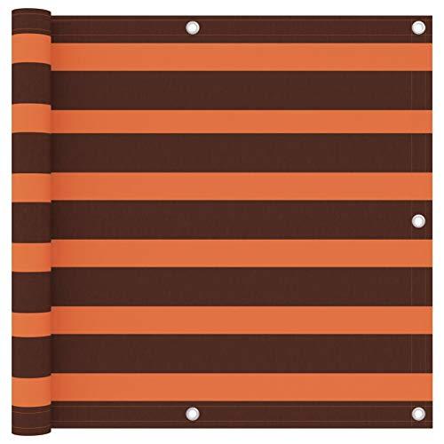 Festnight Écran de Balcon Paravent Extérieur Brise-Vue Orange et Marron 90×400 cm Tissu Oxford