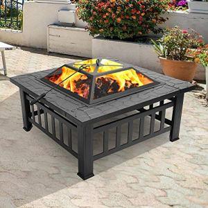 Foyer avec grille, brasero avec protection anti-étincelles pour barbecue, chauffage, jardin, terrasse – En métal – 3 en 1 – Pour extérieur (brasero carré)