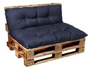 Garden factory Coussins pour Canape Euro Palette, Assise, Dossier, Set, extérieur intérieur Set (Assise 120×60+Dossier 120×40)