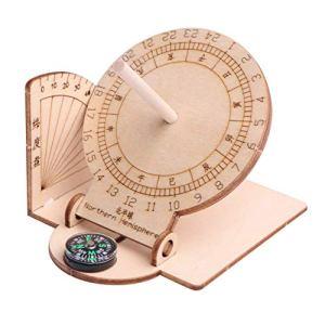 Garneck 1 Pcs Horloge Cadran Solaire Équatorial Ornement Bricolage en Bois Éducatif Scientifique Cadran Solaire Modèle pour Enfants Enfants Étudiants