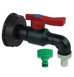 GASMIS Adaptateur IBC avec robinet d'écoulement s60x6 3/4 en Polypropylène, Made in Italy, avec raccord de tuyau et raccord de robinet, réservoir d'eau de pluie IBC, noir, 2 pièces