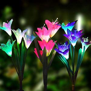 GITURKD Guiturkd – Lampes solaires d'extérieur pour Piquet de Jardin avec 8 Fleurs de lys – Multicolore – Lampes solaires à LED pour Jardin, terrasse, Jardin Art déco 3PACK-1