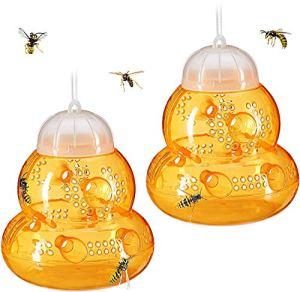 HAOGEGE Lot de 2 Piège à Guêpes à Suspendre en Plein Air Réutilisables Pièges à Frelons en Plastique Piège à Guêpes Pièges à Insectes Écologique pour La Maison de Jardin