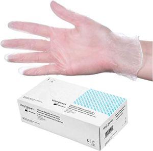 HeroTouch 100 Gants Jetables en Vinyle transparent Non Poudrés Taille L   Boîte Distributrice Gants Protecteur Maison & Cosmétique Hygiène Sécurité