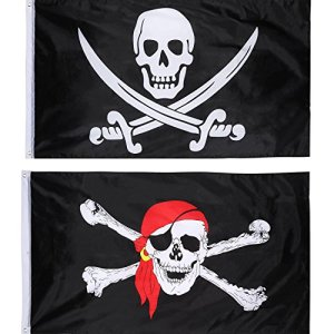 Hestya 2 Pièces Jolly Roger Drapeau Pirate Drapeau du Crâne pour la Partie de Pirate, Cadeau d'anniversaire, Jour de Pirate, Décoration d'halloween, Cadeau de Noël, 3 par 5 Pieds