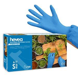 Hevea – Gants en nitrile jetables. Sans talc et sans latex. Lot de 5 boîtes de 100 gants chacune. Taille : S (Petite). Couleur : bleu