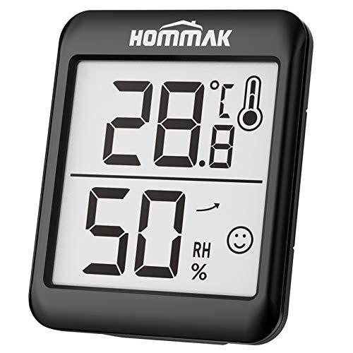 Hommak Hygromètre Intérieur, 2.3 Pouces Grand Écran Thermomètre-Hygromètre Intérieur, 2e Generation Indicateur de Confort Mieux Connaître Équilibre Réel Température/Humidité, pour Chambre/Bébé/Serre