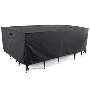 Housse de table imperméable en PVC Oxford 420D pour meubles d'extérieur – 270 x 210 x 90 cm – Type L (gauche longue et droite courte)