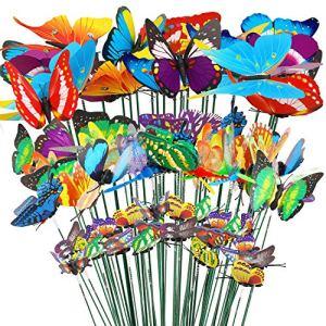 HOWAF 32 Animaux Jardin Sculptures Décoration, 24 Papillons Jardin Bâtons, 8 Libellules Jardin Bâtons, Colorés Piquets Bâtons pour Jardin Patio Plante Pelouse Table Décorations Ornement 4 7 8.5 10cm