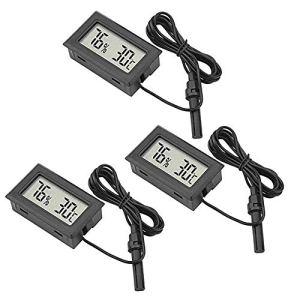 IWILCS Hygromètre à thermomètre 3 pièces, Mini thermomètre numérique LCD, thermomètre intérieur, testeur de température et d'humidité, utilisé dans la Chambre de bébé du Bureau à Domicile, etc, Noir