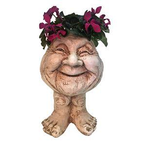 Jardinière pour intérieur et extérieur, céramique, planteur Succulent, Vase, Statue Grecque, jardinière, urne, Maison, Jardin, décoration, Sculpture (Brown)