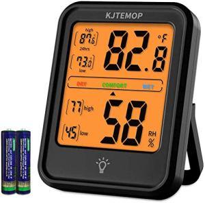 KJTEMOP Thermomètre d'ambiance Hygromètre numérique Indicateur de jauge d'humidité Thermomètre intérieur Moniteur de température et d'humidité ambiante avec rétro-éclairage pour Bureau à Domicile