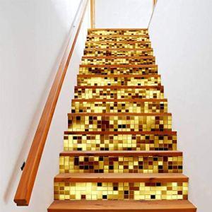 KLOVA Autocollant d'escalier, 13 pièces/Ensemble Autocollants de Sol de contremarche d'escalier 3D étanche Amovible Auto-adhésif Bricolage escalier décalcomanies peintures murales-Type 40