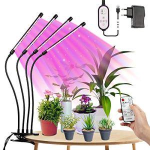 Lampe Horticole 80W, Tasmor Lampe Plante Intérieur 80LEDs à 360°, Lampes de Croissance Horticoles avec Chronométrage (4H / 8H / 12H), LED Horticole Lumière, Rouge, Bleu, Blanc Chaud IP44 pour Jardin.