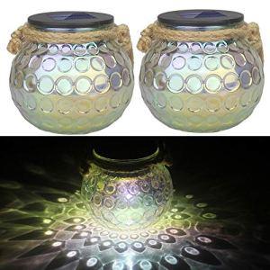 Lampe solaire en verre, Jorft 2 pièces LED boule lumières verre solaire en pot Mason IP65 étanche lampe solaire lampe de jardin lampe suspendue pot lumière à l'extérieur décorative transparente