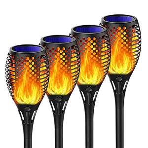 Lampe Torche de Jardin,Lumières Solaire de Flammes Exterieur LED Vacillantes de Sécurité, Lampe Chemin Terrasse Cour