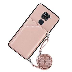Lanyard Étui portefeuille pour Xiaomi Redmi Note 9 (or rose)