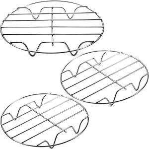 lif Lot de 3 grilles de friteuse à air comprimé pour la cuisson à la vapeur – Polyvalentes – En acier inoxydable 304 – Avec support – Pour friteuse à air comprimé – 17,8 cm