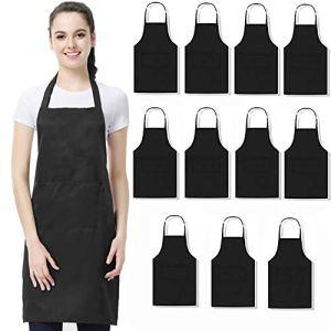 Lot de 11 bavoirs de couleur unie résistant aux gouttes d'eau avec 2 poches – Tablier de cuisine pour femme, homme, chef, barbecue, dessin, lavable en vrac (noir)
