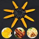 Luxshiny Lot de 8 fourchettes à maïs en acier inoxydable pour la maison – Brochettes à maïs pour barbecue – Jaune