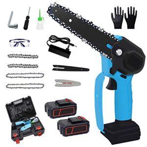 Mini tronçonneuse électrique portable sans fil 15,2 cm 36 V 4000 mAh Fonctionnement à une main 0,7 kg Léger Sécateur Scie pour coupe du bois, arbre et garde (2 piles, 4 chaînes) Bleu