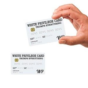 MMYY Lot de 2 cartes de privilège blanches avec inscription « Trumps Everything » – Pour homme – Cadeau de visite