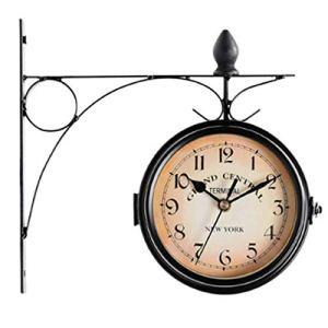 oofay Horloge murale rétro à double face avec housse étanche, convient pour intérieur, extérieur, clôture