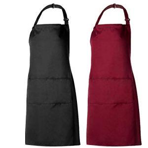PAMIYO Tabliers de Cuisine 2 Pack Tablier avec Poche Étanche Réglable Anti Tâches pour Cuisine Familial Restaurant Barbecue (Noir + Rouge)