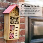 PaNt Hôtel à insectes 25 x 7 x 30 cm en bois naturel, abri de jardin en bambou pour abeilles, papillons, coccinelles, insectes
