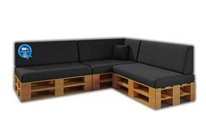 Saving Pack Lot de 8 Coussins pour canapé-Palette / Palette Euro 3 sièges + 3 dossiers + Coin + Coussin   Amovible   Intérieur et extérieur   Couleur Gris Nautique   100% étanche