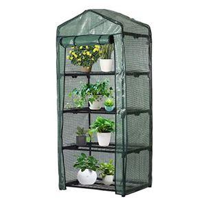 Serre de Jardin Solide 4 Étages avec Bâche Pliable Transparent ,160X70X50 CM ,Mini Serre de Balcon Imperméable pour Légume Fruit Fleures Plante