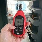Shipenophy Hygromètre de thermomètre numérique à Puce à Faible énergie Hygromètre de thermomètre largement utilisé Hygromètre Humidimètre de température de l'air avec indicateur de Batterie Faible