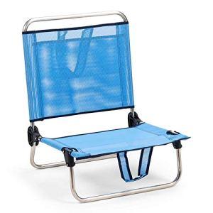 Solenny 50001072725250 8434826105250 Chaise de Plage Pliante avec Dossier Bas et poignées Bleu