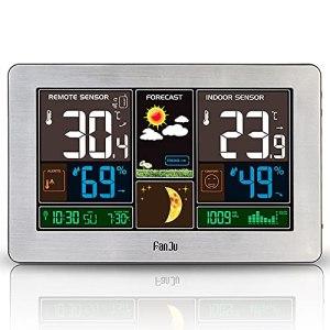 Station météo sans fil Intérieur Extérieur Thermomètre météorologique 3-en-1 Hygromètre Baromètre Moniteur de température ambiante alimenté par USB Indicateur d'humidité à piles Manomètre avec