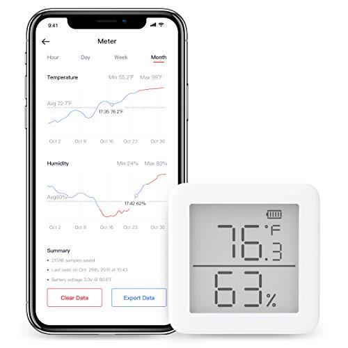 SwitchBot Thermomètre Hygromètre sans fil Capteur d'humidité et de température avec Alertes, pour Cave à Cigare et Guitare, SwitchBot Hub Plus/Mini Compatible avec Alexa, Google Home, HomePod, IFTTT