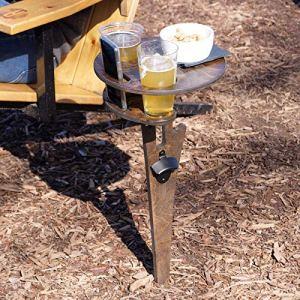 Table à vin d'extérieur, Nique extérieure Table de Pique, Table à vin Portable, Table Pliable pour Camping, Support de Verre à vin, Table de Pique-Nique, extérieur, Plage, Jardin, Voyage. (Marron)