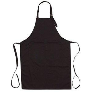 Tablier de cuisine avec 2poches avant cousues Tablier de barbecue avec boucle en métal Back Tablier, noir, 70 x 98 cm