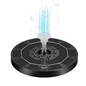 Tianbi Fontaine solaire, 5 V 3 W LED – Pompe solaire flottante avec 6 buses – Batterie au lithium de 3000 mAh – Pompe à eau solaire pour aquarium, jardin, terrasse, étang
