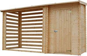 TIMBELA M205 Abri de Jardin+ Chalet pour vélos/Bucher/Abri conteneur – Cabane de Jardin avec Toit Plat – 344 x 130 cm – 2,54 m2+1,1 m2