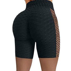 TTivxe Short de course pour femme taille haute – Pantalon de sport élastique – Legging de yoga court (noir, L)