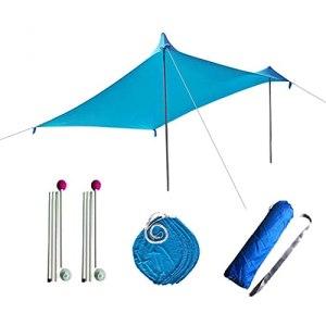 Upupto Beach Shelter Sunshade, Tente de Plage Hammock Rain Fly Tarp avec 4 Ancres de sandbag et Sac de Transport,210 * 170cm